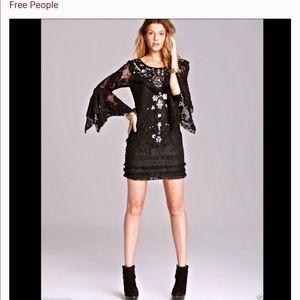 Free people crocheted black dress